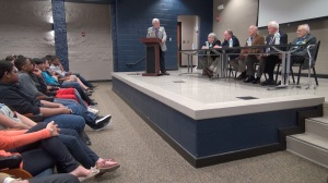 Lee High School JROTC students ask questions of a panel comprised of Heritage Commission Hall of Heroes members Pete Schofield Eric Deets, Bob Karwoski, Leonard Robinson, and Ken Thompson (PHOTO: David Wood, WHNT)