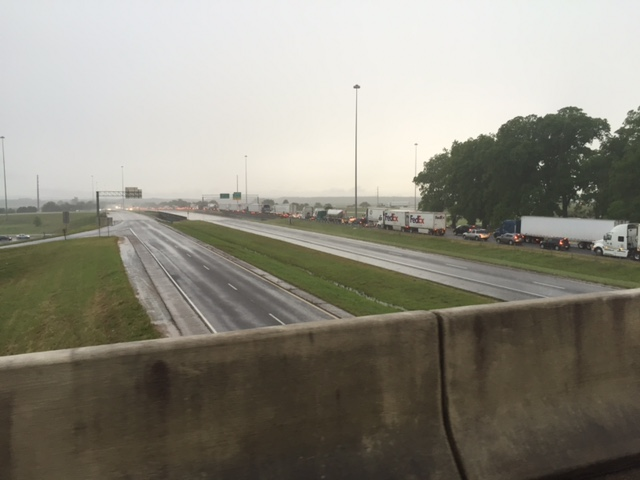 Traffic backed up on southbound I-65 on Thursday evening. Photo taken at the I-65 on ramp from I-565