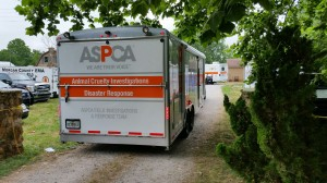 The ASPCA's Animal Cruelty Disaster Response vehicle arrived pulled up Wednesday morning, so the team can help with the effort of removing more than 250 animals. (Photo: David Schmidt/WHNT News 19)