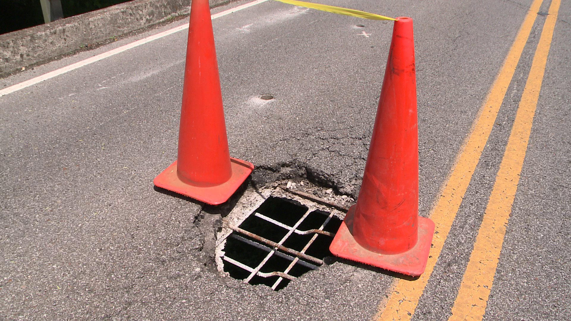 Here's why -- there's a hole in the road over the bridge. (Photo: WHNT News 19)
