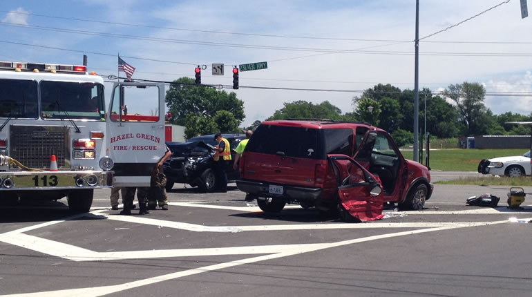 Two vehicles collided at the intersection of Highway 231/431 and Charity Lane in Hazel Green on Tuesday, June 9. (Photo: Gregg Stone/WHNT News 19)