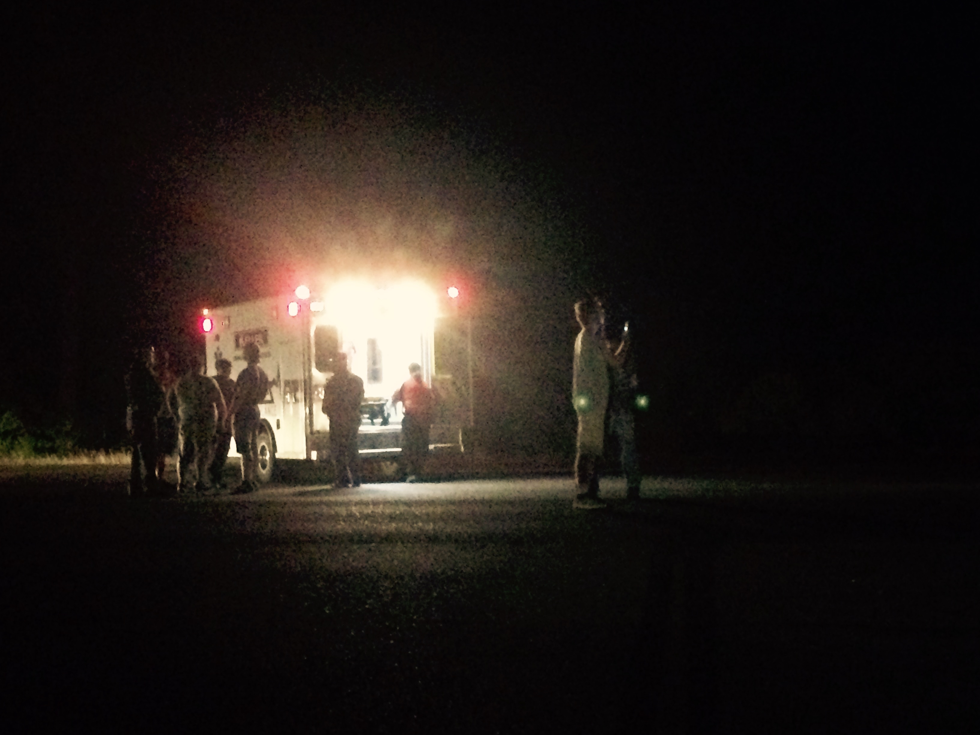 Emergency officials on the scene of bicycle crash on Blue Road (photo from: Catherine Awasthi)