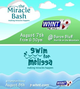 The Miracle Bash and Swim for Melissa are August 7-8, 2015.