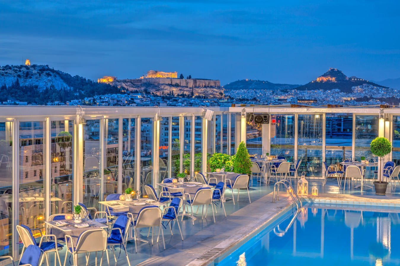 The pool crowning the Athens Ledra Hotel offers swimmers truly memorable views of the Acropolis.