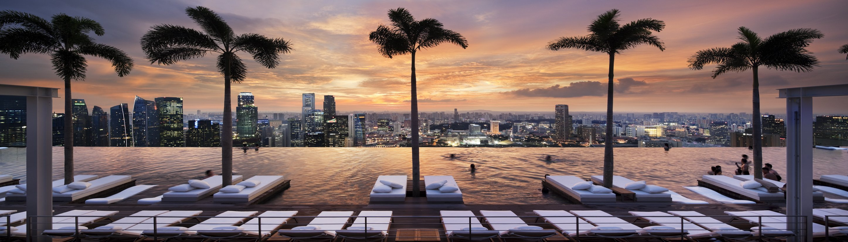 At the Marina Bay Sands, swimmers can hug the edge of the hotel's impressive 57th-floor infinity pool.