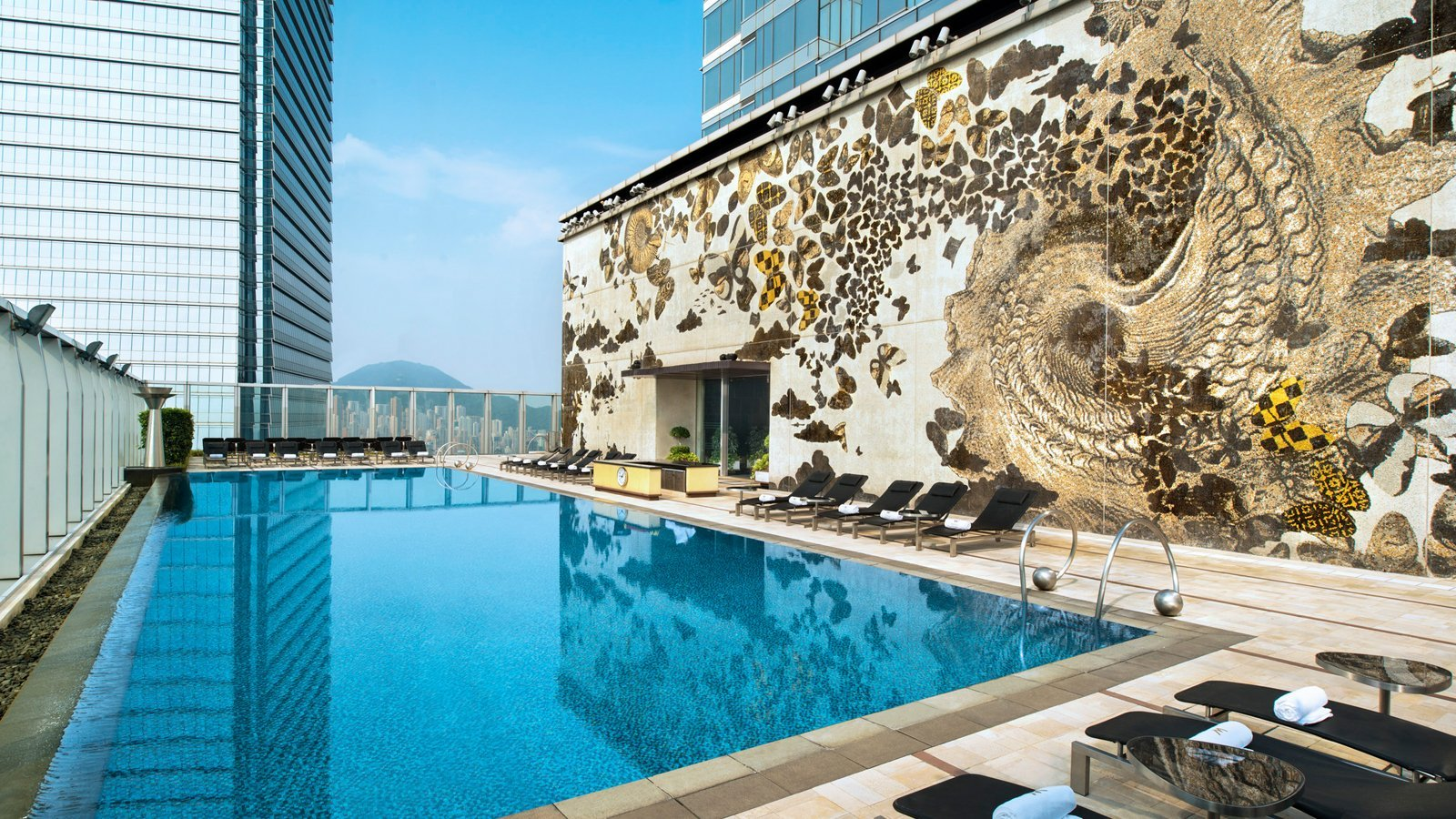 In addition to a sweeping city view, the W Hong Kong in Kowloon features an eye-catching mosaic wall made from more than 200,000 tiles.