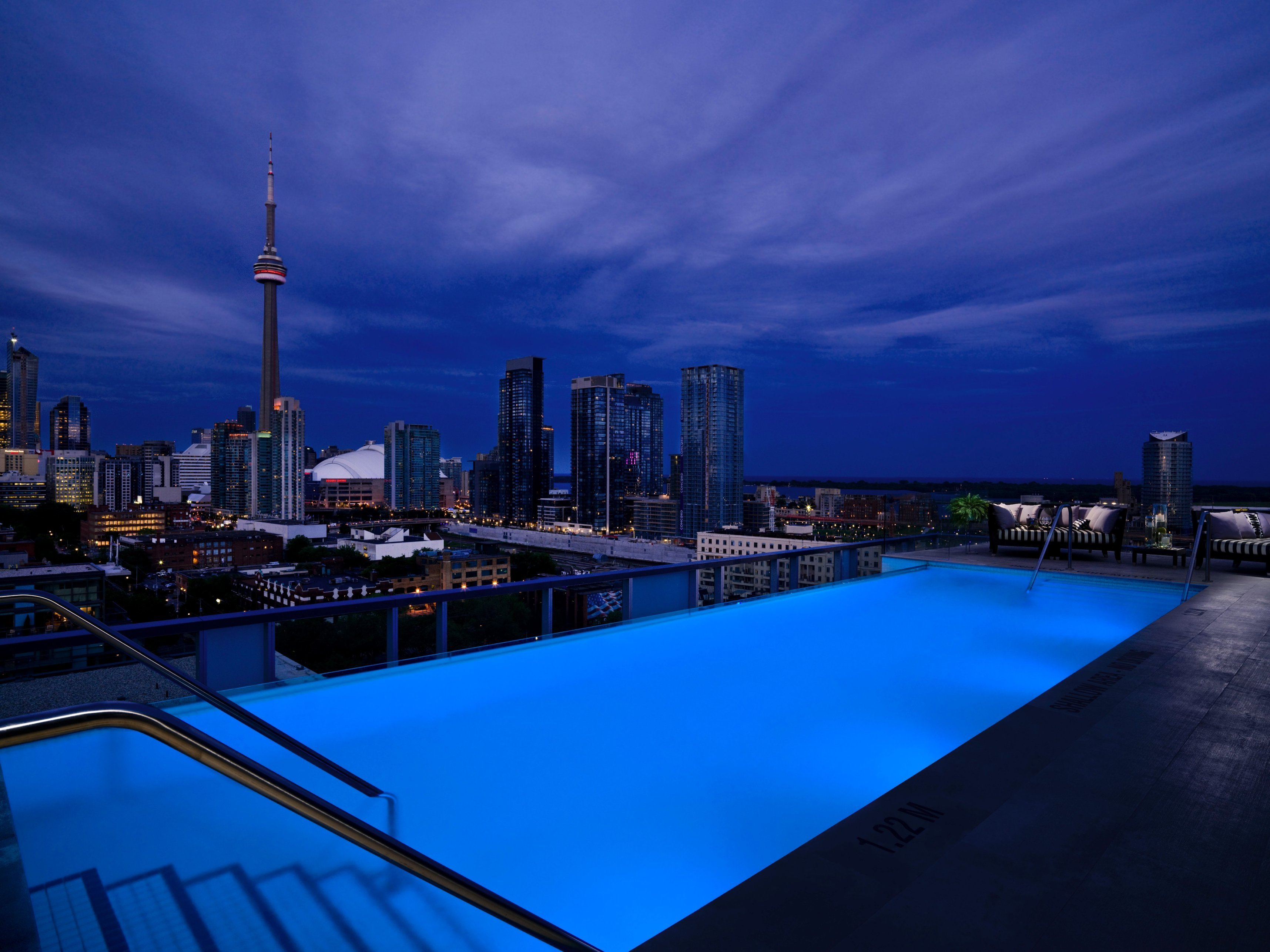 From the roof of Thompson Toronto, guests can see the landmark CN Tower.