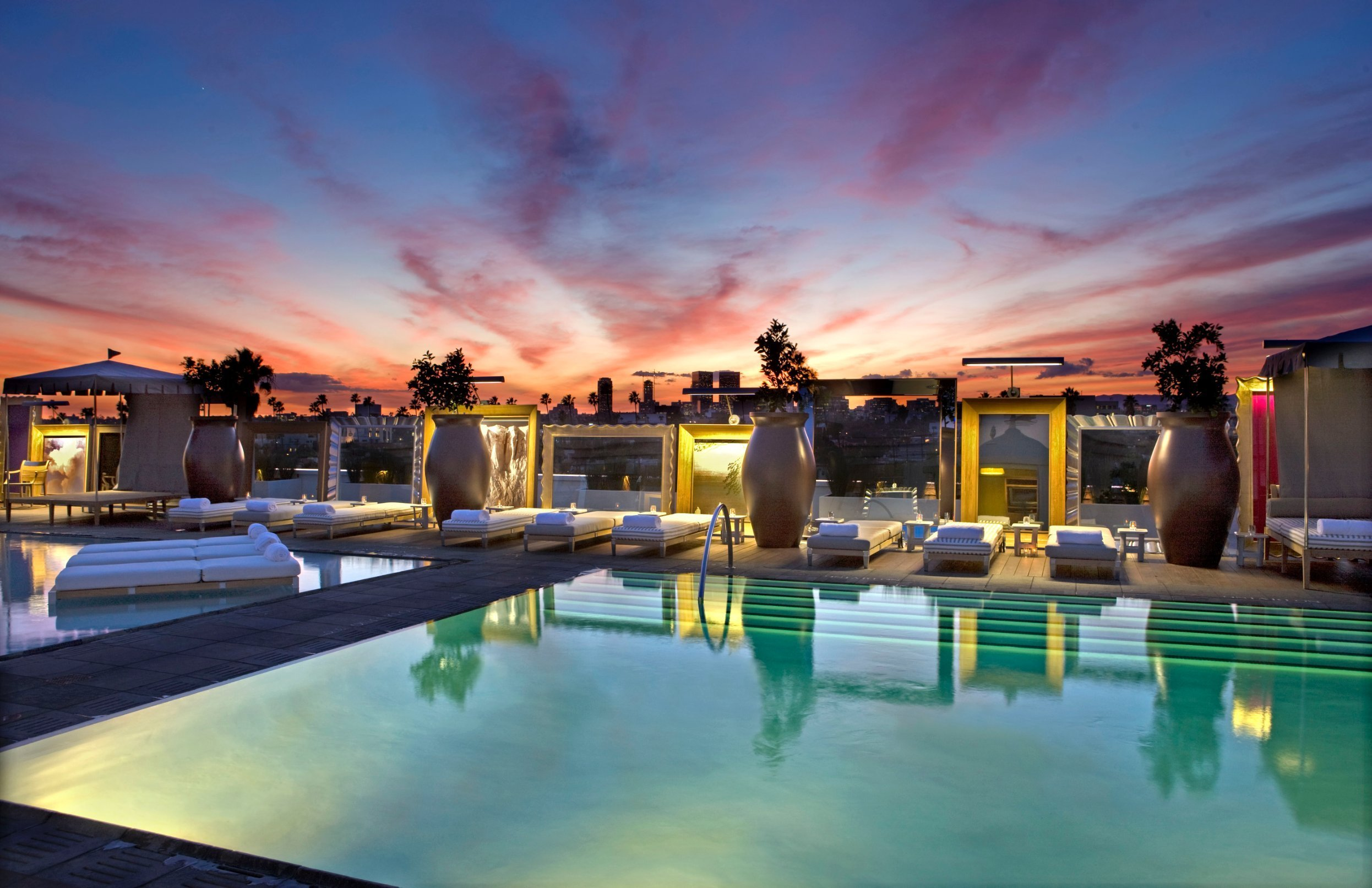 The pool at SLS Beverly Hills features DJs during the spring and summer seasons. Hotel guests can rent cabanas for a true VIP vibe.