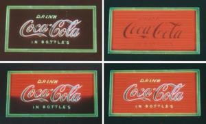 Four stages of neon Coca-Cola sign (Photo by: Larry Faulkner)
