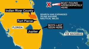 The day-and-night search for two 14-year-old Florida boys who went missing on a fishing trip is focused 60 to 70 miles off Jacksonville, north of where their capsized boat was found, the U.S. Coast Guard said Monday.