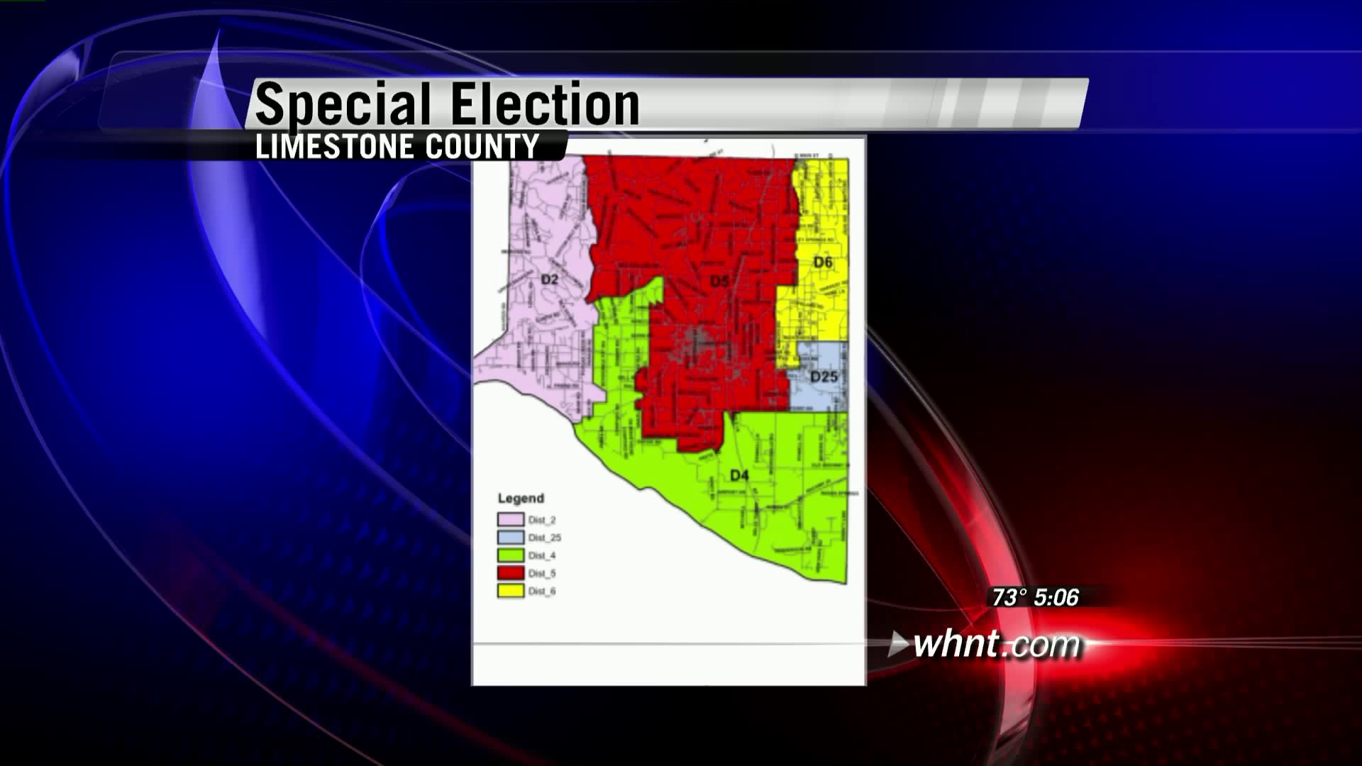 District Map for Limestone County. District 5 is shaded red.