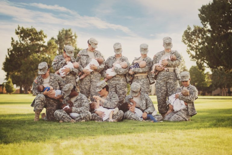Former airwoman Tara Ruby photographed active duty soldiers at Fort Bliss in El Paso, Texas when she learned the base recently opened a nursing room, something not available when Ruby was serving from 1997 to 2001.
