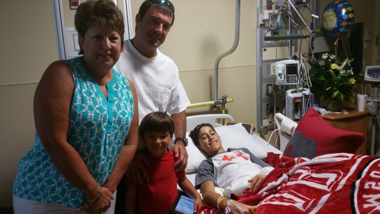 Bryson while in the hospital following surgery (PHOTO: Danielle Richey)