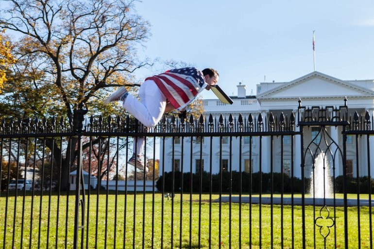 The U.S. Secret Service apprehended a man Thursday, November 26, 2015 after he jumped over a White House fence as the first family was inside celebrating Thanksgiving. The man, who jumped over a fence on the North Lawn, was almost immediately detained by Secret Service officers. (Photo: Vannesa Pena)