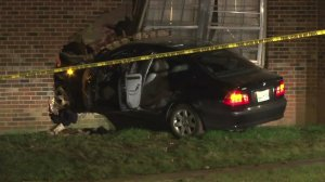 A BMW driven by Brandon Perry crashed into an apartment