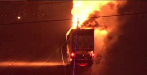Closer look at truck burning on the Interstate (image courtesy: WIAT)