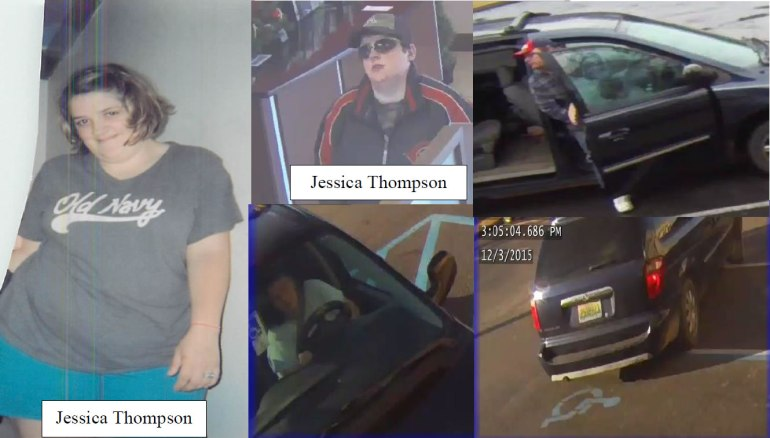 Photos of Jessica Thompson, the van she may be in and the couple she may be with (Alabama Law Enforcement Agency)