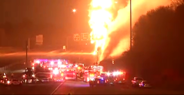 18-wheeler on fire on Interstate 20/59 Wednesday night (image courtesy WIAT)