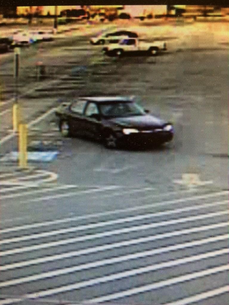 Suspect's car, possibly a 1997-2005 Chevrolet Malibu or Chevrolet Classic. (Surveillance photo)