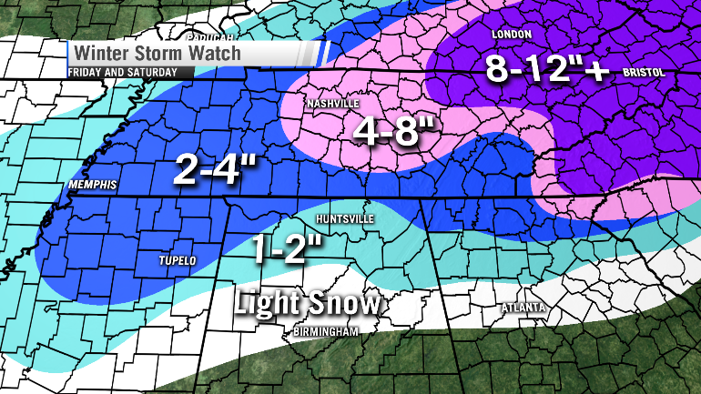 """First Guess"" snowfall forecast - this can and likely will be adjusted"