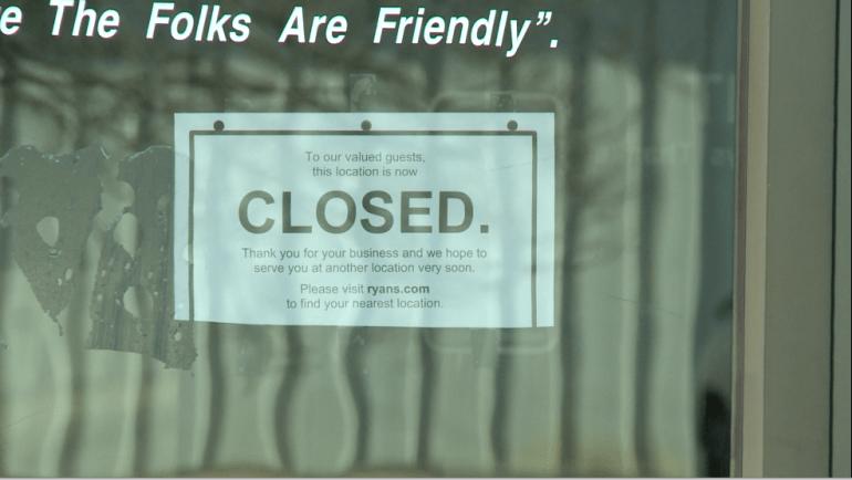 Sign on the front door of Ryan's on University Drive in Huntsville, Alabama (WHNT News 19)