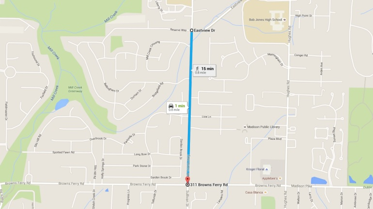 Section of Wall Triana Hwy. closed on Feb. 8 for approximately 2 weeks (Photo: Google Maps)