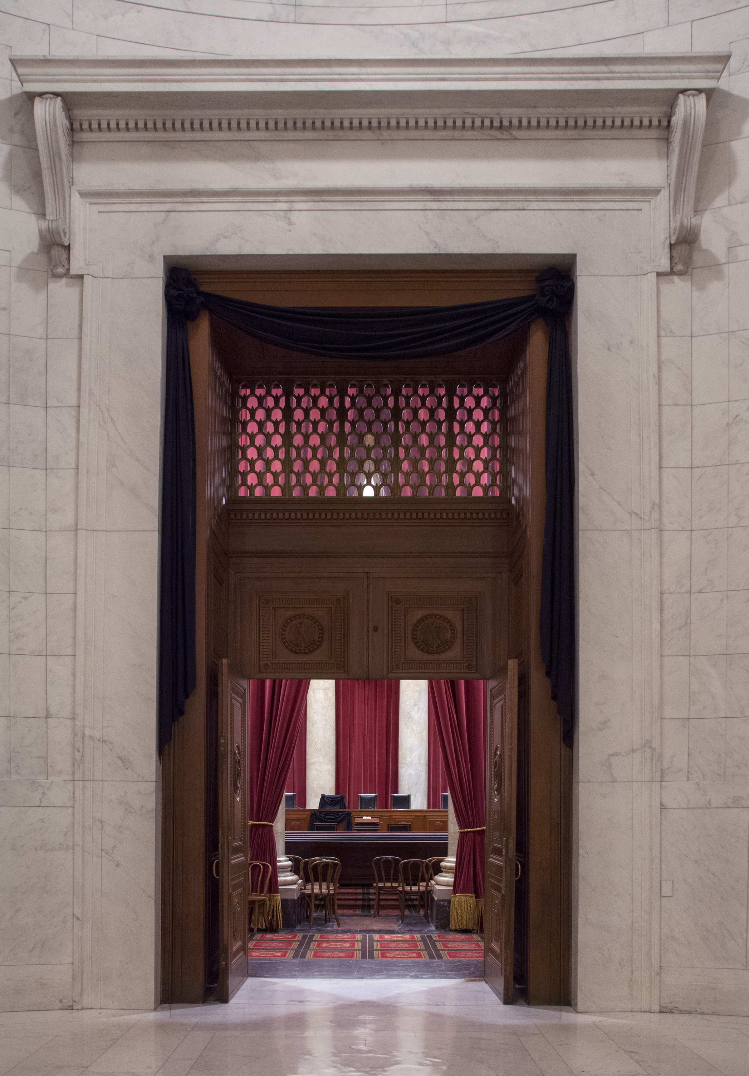The Courtroom doors draped in black following the death of Supreme Court Associate Justice Antonin Scalia on February 13, 2016. Full credit: Franz Jantzen/Supreme Court of the United States