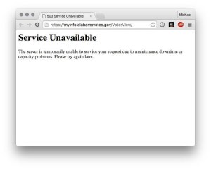 The website has said 'Service Unavailable' at some points on March 1.