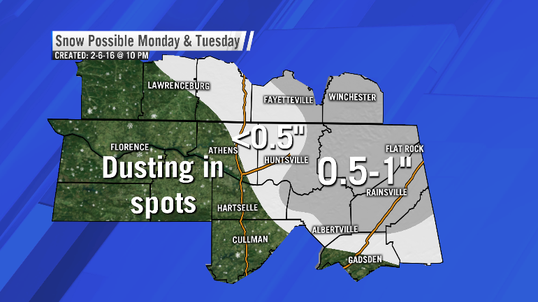 Possible snow accumulation between Monday morning and Tuesday night (Image: WHNT News 19)