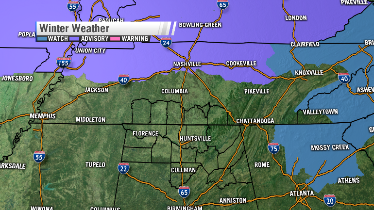Winter weather advisories and winter storm watches have been posted for northern Tennessee and for the north Georgia mountains (Image: WHNT News 19)