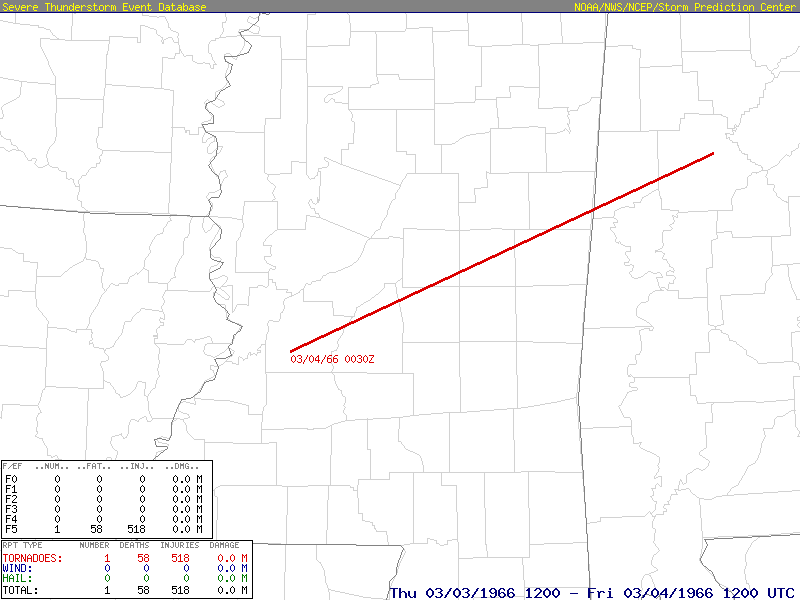 Official path of the March 3, 1966 F5 tornado from Hinds County, MS to Tuscaloosa County, AL (Image: Storm Prediction Center)