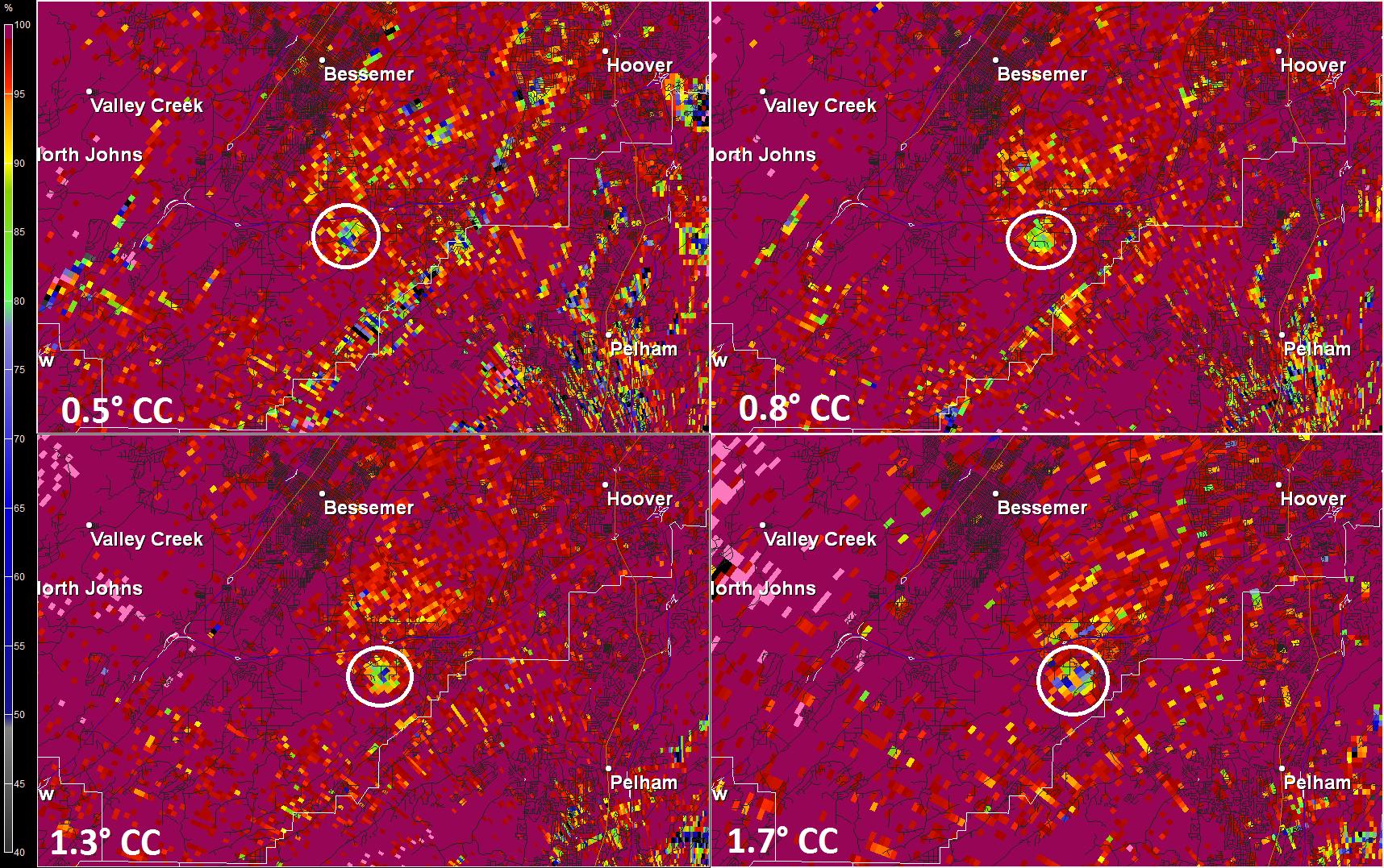 Tornado debris signature detected on the Birmingham Nexrad radar as Tuesday night's tornado was happening (Image: WHNT News 19)