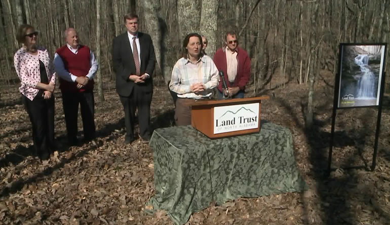 Marie Bostick, Executive Director of the Land Trust of North Alabama, talks about the property on Green Mountain. (Shane Hays/WHNT News 19)