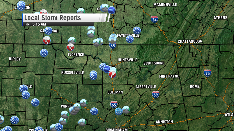 This map shows reports of storm damage across the Tennessee Valley as reported to the National Weather Service