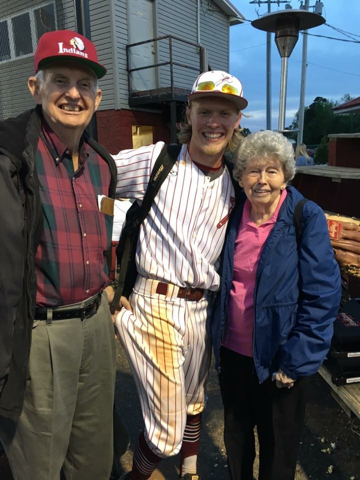 East Limestone senior baseball player Easton Reece smiles with his grandparents after hitting a walk-off grand slam against Austin on Monday, April 18. (Courtesy: Blake Williams)