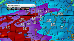 Rain totals will average between 1 and 3 inches between Monday afternoon and Tuesday afternoon (Image: WHNT News 19)