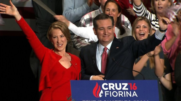 Ted Cruz names Carly Fiorina as his running mate at a rally in Indianapolis on April 27, 2016.