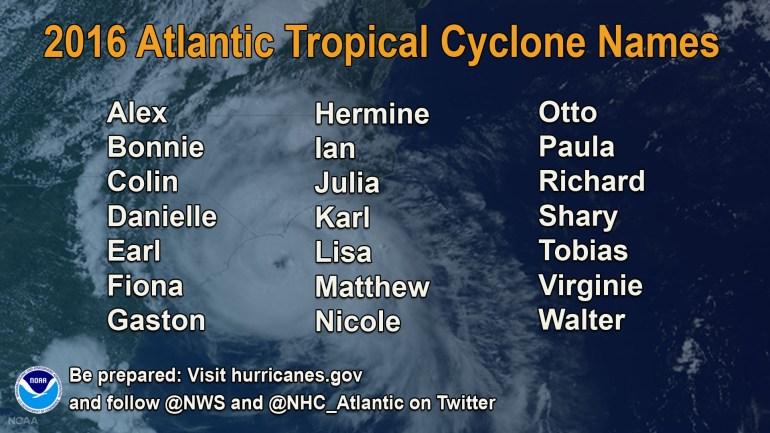2016 Atlantic hurricane season tropical cyclone names (Source: NOAA)