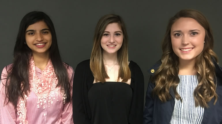 L to R: Samin Riyaz, Nour Qushair and Lauren Faulkner wrote the winning essays. (Photo: Denise Vickers/WHNT News 19)