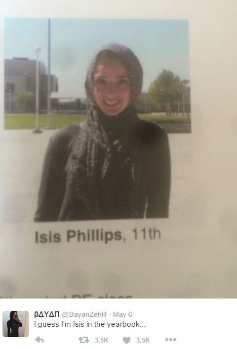 Girl labeled Isis in yearbook