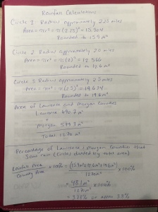 Calculating areal rainfall percentage. (Handwriting via Christina Edwards)