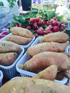 Sweet potatoes and radishes for sale at Greene Street Market (Photo: Elaina Muenster/WHNT News 19)