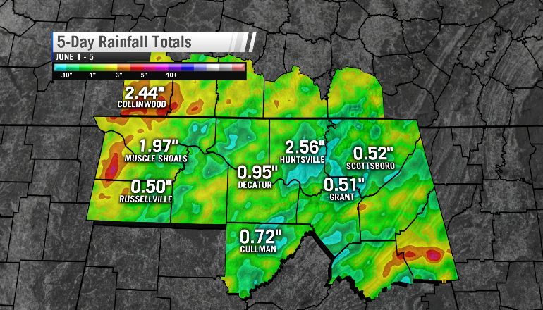 Rainfall accumulations from June 1 - June 6.
