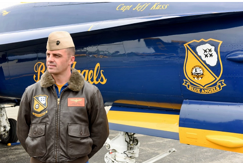This May 19, 2016, photo shows Marine Capt. Jeff Kuss at an air show in Lynchburg, Va. (Matt Bell/The Register & Bee via AP)