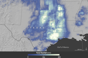 Satellite-estimated rainfall that fell over east Texas April 15-18, 2016. (Source: NASA Earth Observatory)