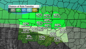 Tuesday's chance of rain 7 AM to 7 PM
