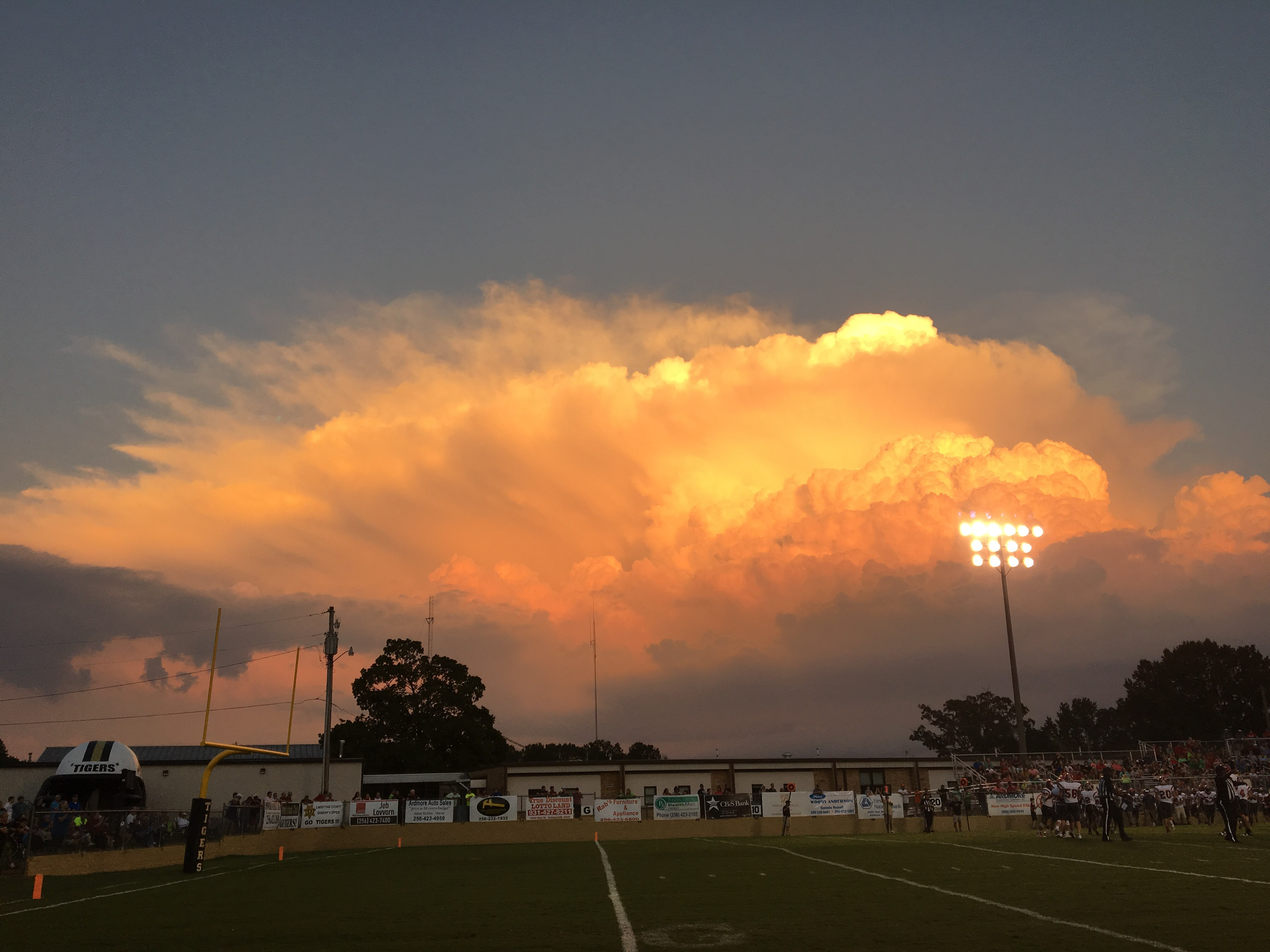 Saturday sunset at the Ardmore vs. Elkmont game (Photo: John Pressnell)