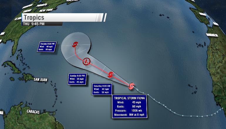 Tropical Storm Fiona's forecast as of 10 PM Thursday