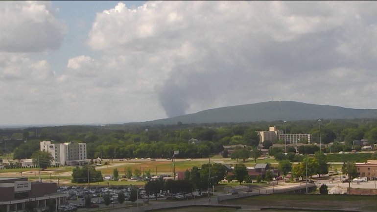 A large plume of smoke rose from Redstone Arsenal on Tuesday morning due to testing. (Photo: WHNT News 19 Roof Camera)