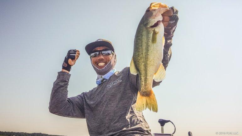 Shinichi Fukae shows off a beautiful Wheeler Lake largemouth and he is HAPPY! (Kyle Murphy)